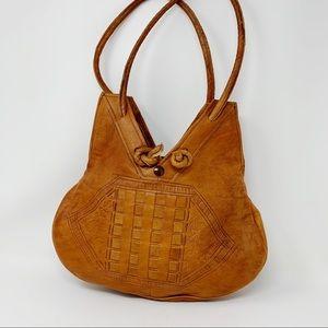 VTG Tooled Leather Tote Bag